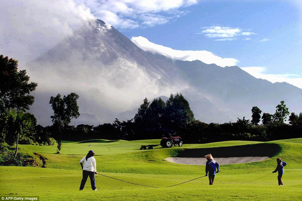 Merapi Golf Club is said to be a challenging course offering very scenic view of the much-feared Mount Merapi in Indonesia.The volcano, located near Yogyakarta, is one of the most active on earth