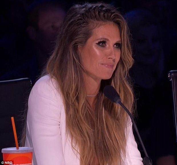 Moved: Heidi Klum also looked deeply touched by Kechi's performance during the semifinals