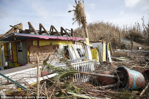 What was once a gift shop and restaurant now lays in ruins on of St. John in the US Virgin Islands on Sept. 12, 2017. The island was hit hard by Hurricane Irma