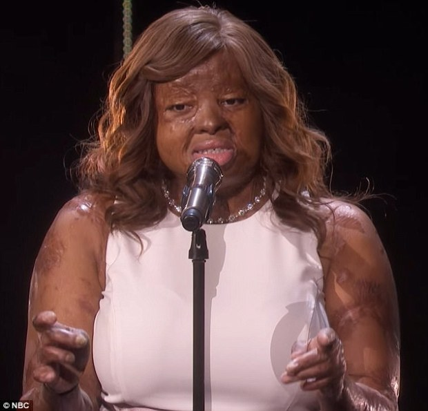 Beautiful: Gifted singer Kechi Okwuchi, 27, stunned America's Got Talent's judges with her touching performance on Tuesday night