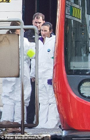 Specialist forensic officer, including some with expertise in dealing with bombings and chemical incidents, are combing the train for clues