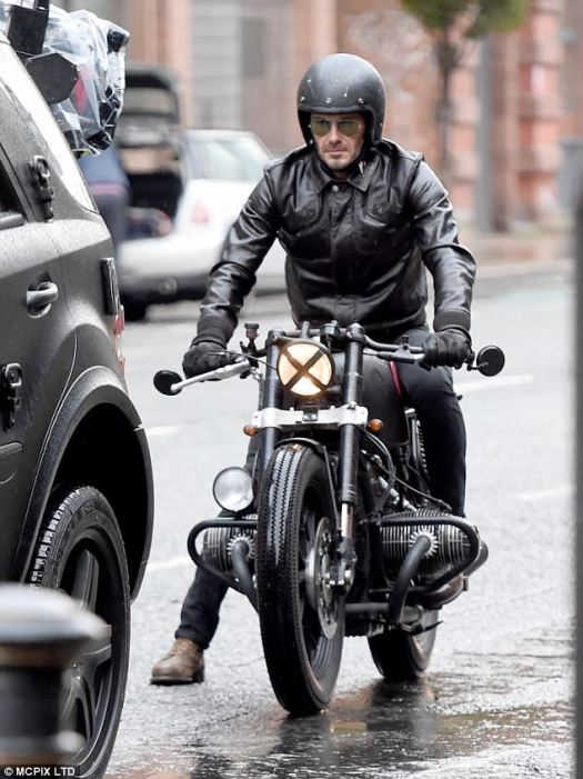 Having a wheel-y good time!While the designer was still working in the States, her husband David was seen riding around Manchester on his beloved motorbike the same day