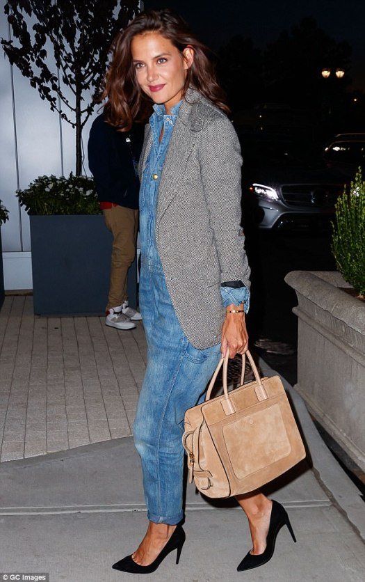 Off-duty style: Katie Holmes, 38, looked sleek and sophisticated in an Etienne Marcel denim jumpsuit with a tweed blazer layered over it
