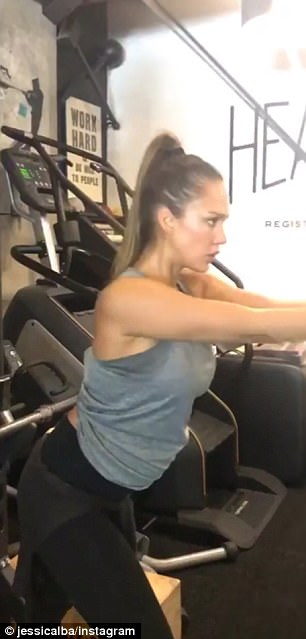 She's got focus:The co-founder of Honest Beauty did some strength training, including arm and back muscle-focused machines