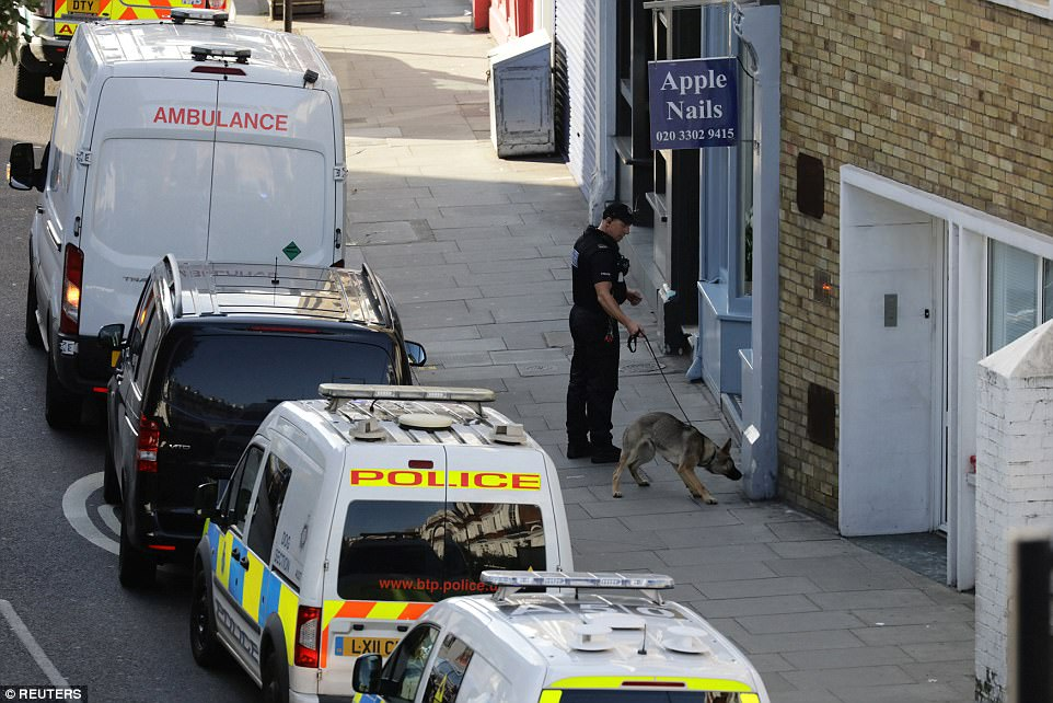 A police officer and a sniffer dog stand in the street near Parsons Green tube station