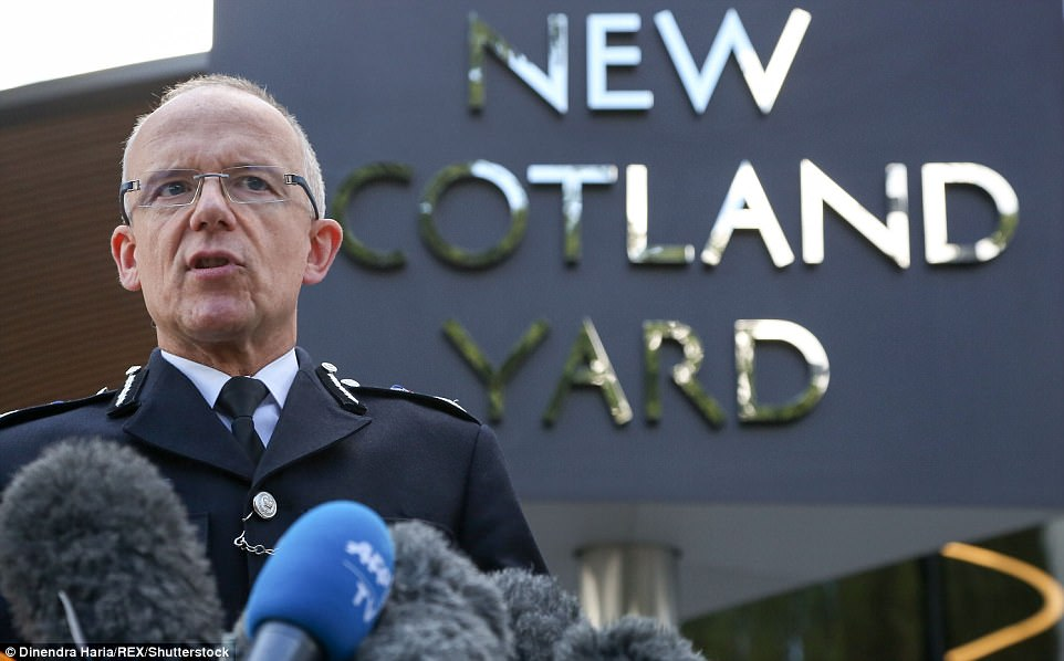 Met terror chief Mark Rowley updated the media on the investigation this morning (pictured) but has not given any details of any man hunt