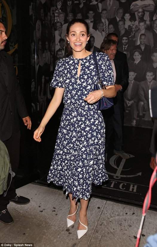 Fresh prints: Emmy Rossum she stepped out to celebrate co-star Emma Kenney's birthdayon Thursday evening