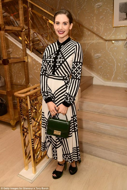 A side of Brie: Alison Brie from The Disaster Alert wore this geometric striped dress