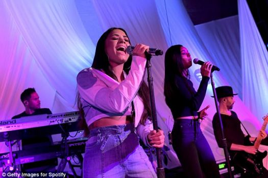 Stage queen: She performed at the private event which was for superfans of the singer