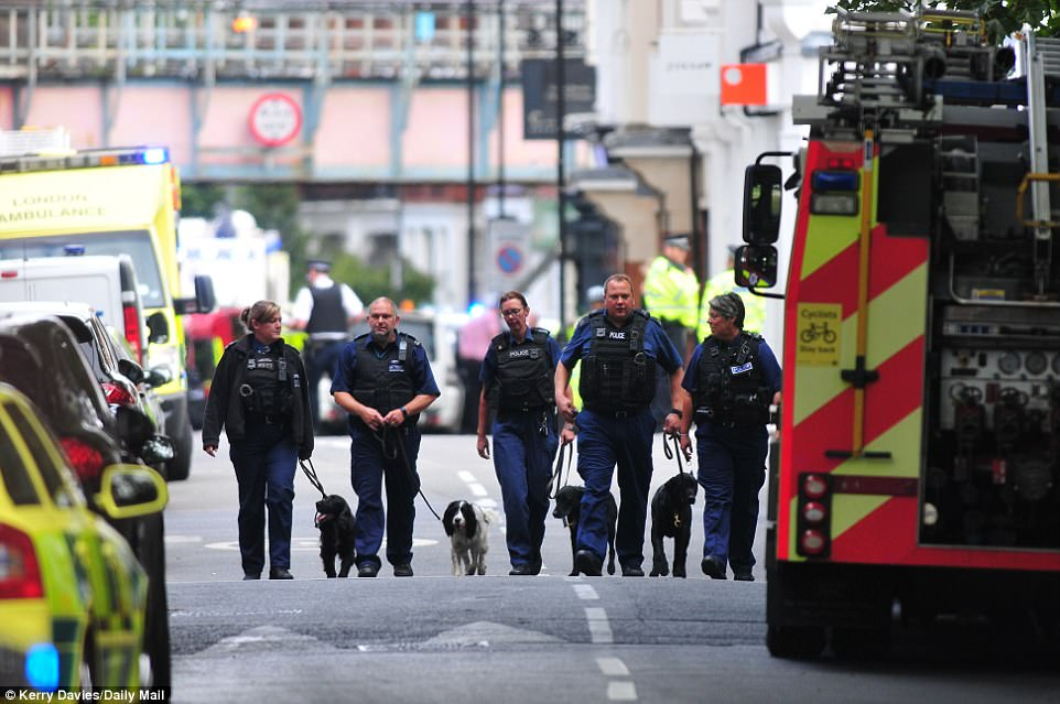 Sniffer dogs are also searching around the cordoned off area amid claims that there were other devices yet to be discovered