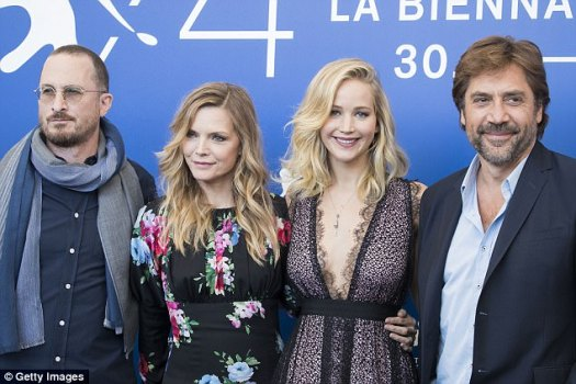 Doing the rounds: The challenging movie played at the Venice Film Festival in September, among others. Pictured, Darren, Michelle Pfeiffer, Jennifer and Javier Bardem