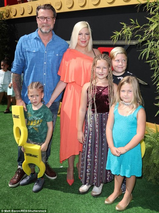 Their brood:The Beverly Hills, 90210 vet, who has been plagued by financial chaos this year, brought her husband Dean McDermott and four of her five children