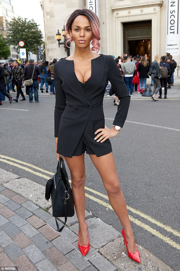 Model behaviour: Talulah Eve, who was on Britain's Next Top Model rocked a black tuxedo blazer and injected a dose of colour with red patent courts