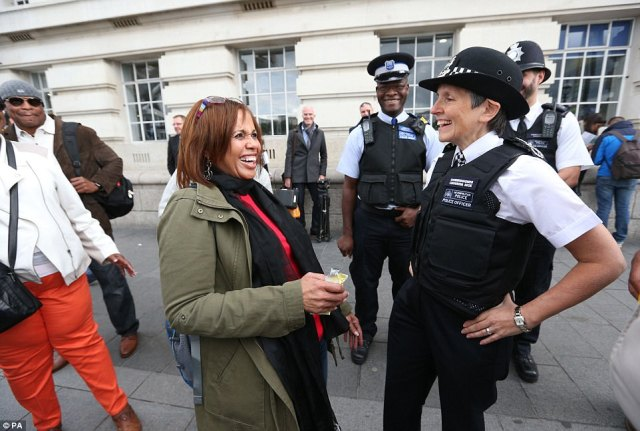 The crime commissioner joined police patrols today after Operation Temperer was activated, meaning that up to 5,000 armed troops can be deployed at sensitive sites