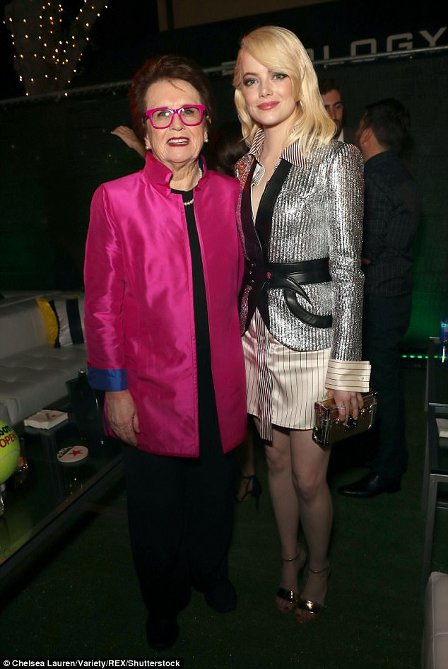 Icon: Emma was joined by Billie Jean King - the character who she took on for the film