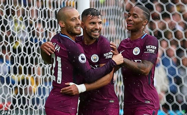 Aguero celebrated his second goal with Raheem Sterling, who has complimented his finishing