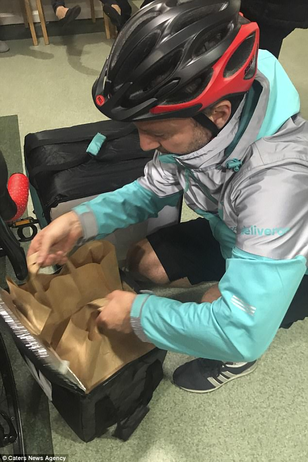 The car salesman ordered a takeaway using the food delivery app Deliveroo to get a cheeseburger, chicken wings and fries to the hospital wing
