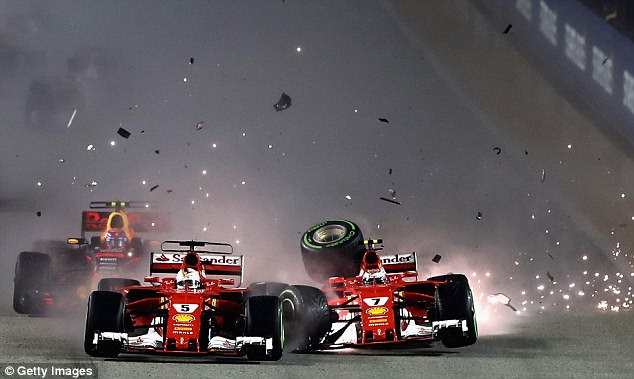 Off the start line, Kimi Raikkonen and Sebastian Vettel sandwiched Max Verstappen