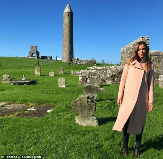 Flawless:The 34-year-old took to Instagram on Sunday to share a photo of herself posing next to some 900-year-old Irish ruins