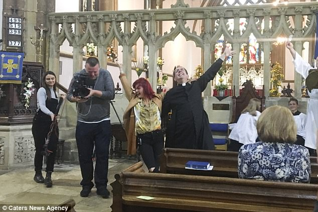 Joyful Joyful: Richard, 55, returned to St Marys Church in Finedon for his usual weekly service but this time he was being followed by the Strictly cameras