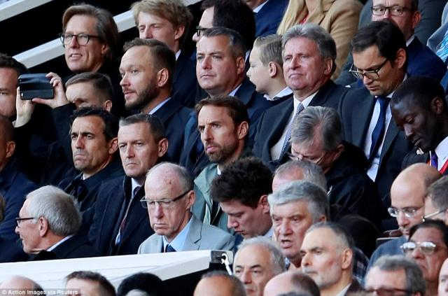 England manager Gareth Southgate and Under-21 bossAidy Boothroyd (to his right) were in the stands for the league clash