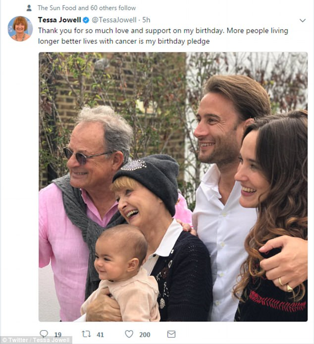 Tessa Jowell's illness has not previously been disclosed but she and her family both posted pictures on social media today to celebrate her birthday (including on her Twitter, pictured)