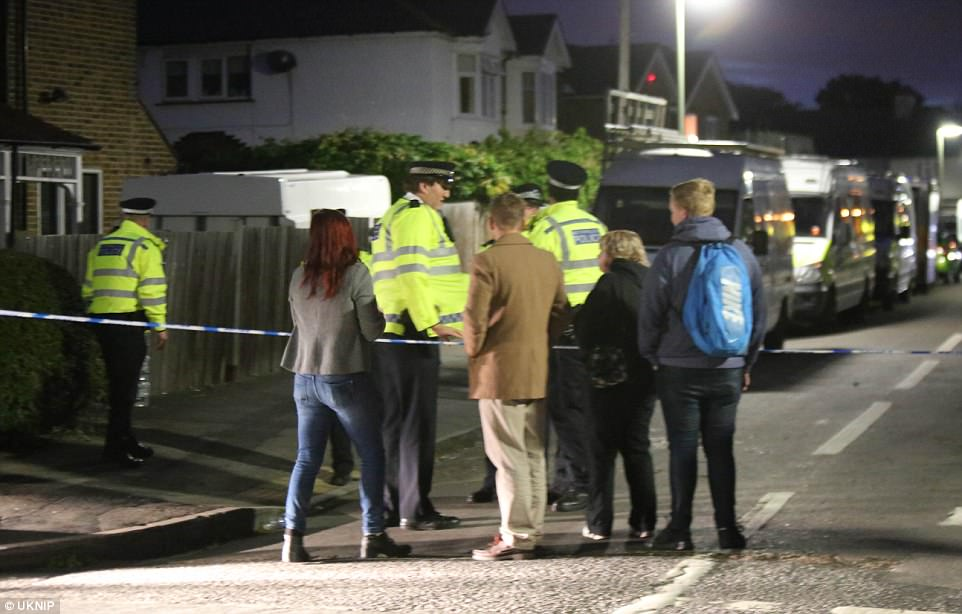 Serena Barber, 47, who has known the foster parents all her life, said: 'They have two boys at the moment, both are foreign. One is very quiet and polite, the other who is 18 is awful'. Pictured: The scene in Sudbury tonight