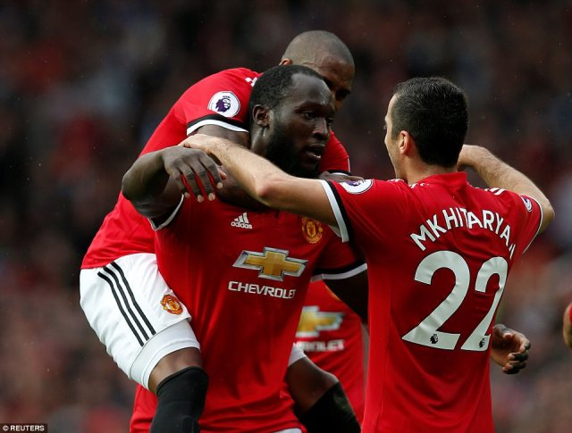 Romelu Lukaku had a quiet game but scored from close range at the far post as United ran riot in the final 10 minutes