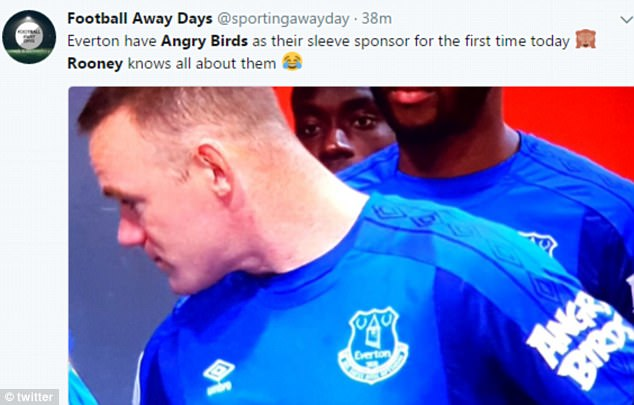 Wayne Rooney was today seen wearing his Everton shirt - with the new Angry Birds sponsor on his left sleeve