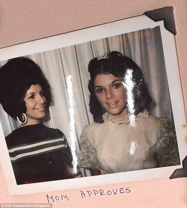 Bringing back the memories: Kim Kardashian shared an adorable photo of her mother Kris Jenner with her mom Mary Jo Shannon in the 1970s on Instagram on Sunday