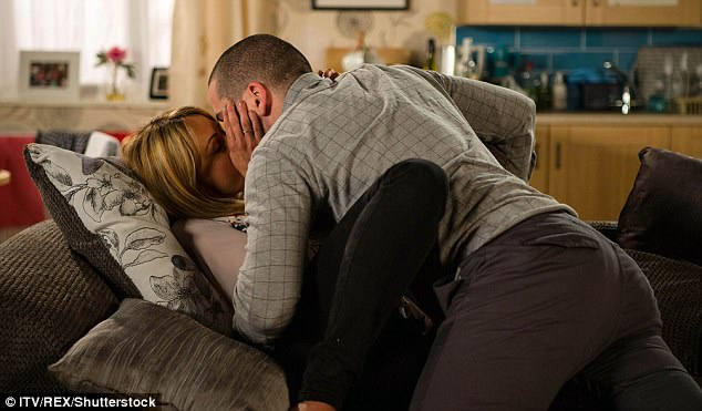 On-screen lothario:And although enjoying his lust-fuelled scenes on the hit ITV soap, he admitted to cringing when he watches Corrie with partner Sophie Austin, who he shares daughter Willow, nine months, with