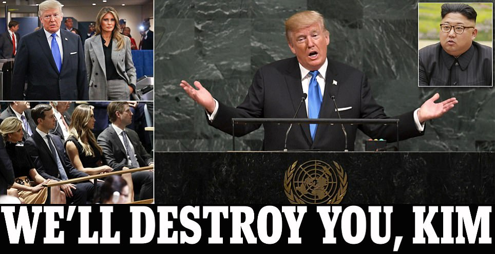 Trump tells UN he will 'totally destroy' Kim Jong-Un