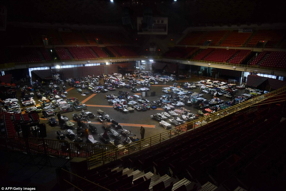 Above was the view inside the Roberto Clemente Coliseum early Wednesday morning, as Maria made landfall