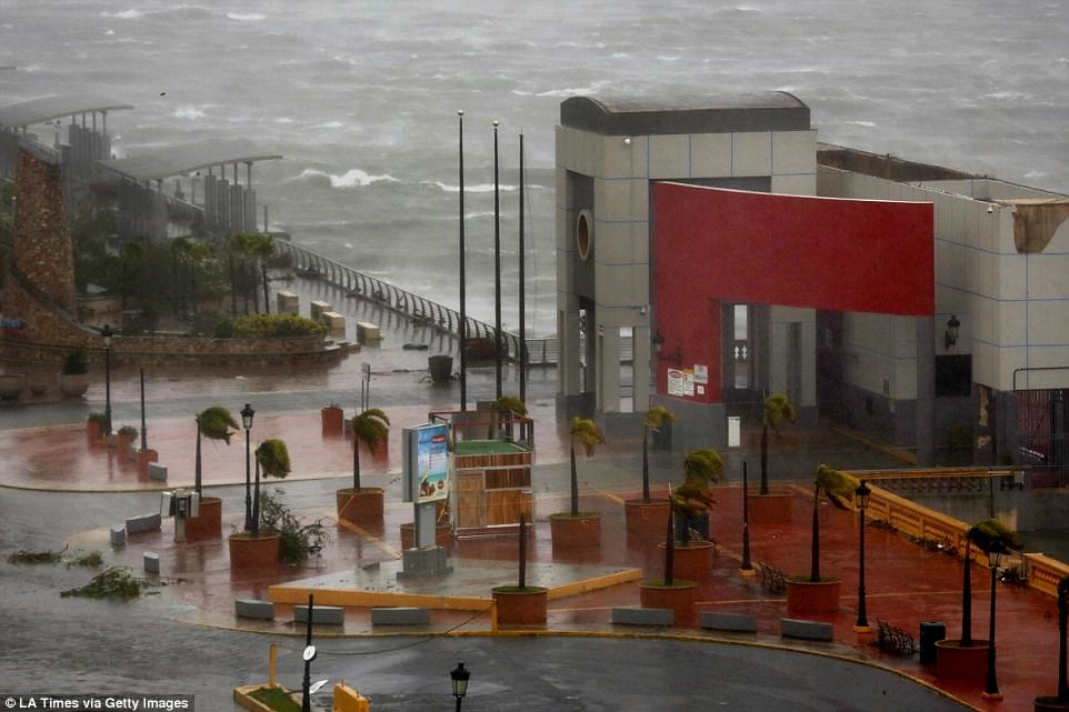 A view from the Sheraton Old San Juan, in Puerto Rico, where people are waiting out hurricane Maria on the second floor, some with their pets