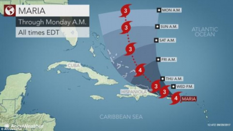 The storm has battered Puerto Rico for most of Wednesday before moving on towards the Dominican Republic