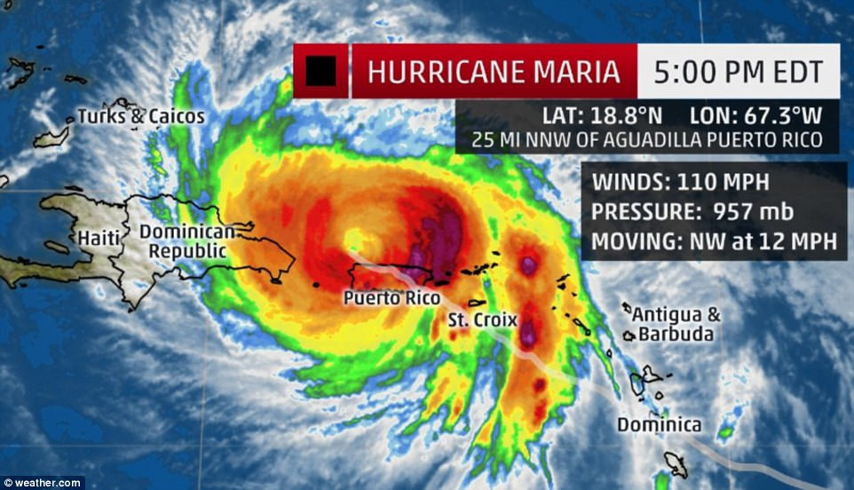 Hurricane Maria made landfall on Puerto Rico around 6:15am on Wednesday. Above was the hurricane's location at 5pm ET