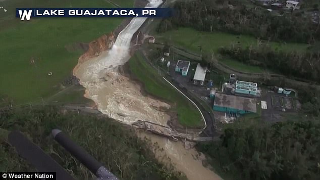 A terrifying torrent of water swept through Puerto Rico after a dam failed at Lake Guajataca in the northwest region (pictured)