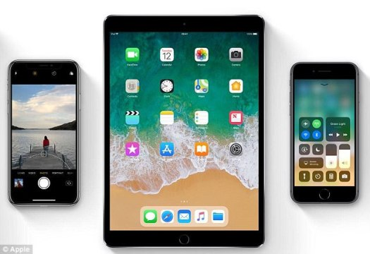 Apple users who have update their devices to use iOS 11 have noticed problems with their battery life and app performance. Pictured are what iOS 11 will look like on iPhones and iPads