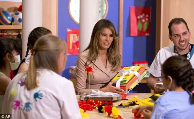 The First Lady's gesture was part of White House initiative dubbed 'National Read a Book Day' (Pictured: May 25, 2017) Her spokeswoman said it was unfortunate that Cambridgeport Elementary School librarian Liz Phipps Soeiro turned the donation into 'something divisive'
