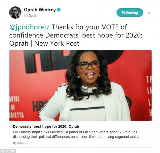 A New York Post columnist made waves this week by suggesting Oprah Winfrey is the Democratic Party's best choice to run against President Donald Trump in 2020, and Oprah thanked him for the 'VOTE' of confidence