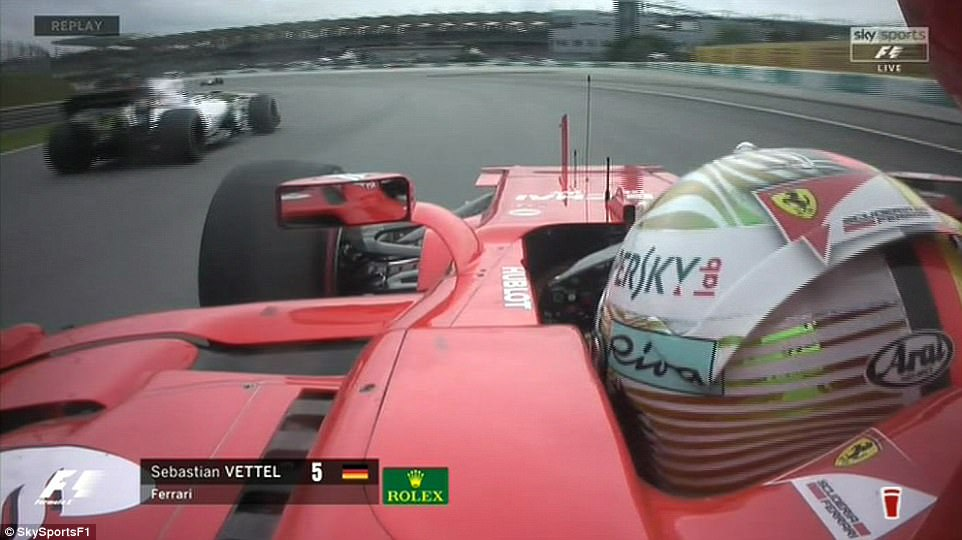 Vettel's on-board camera showed the extent of the impact, though Lance Stroll in the Williams appeared unscathed