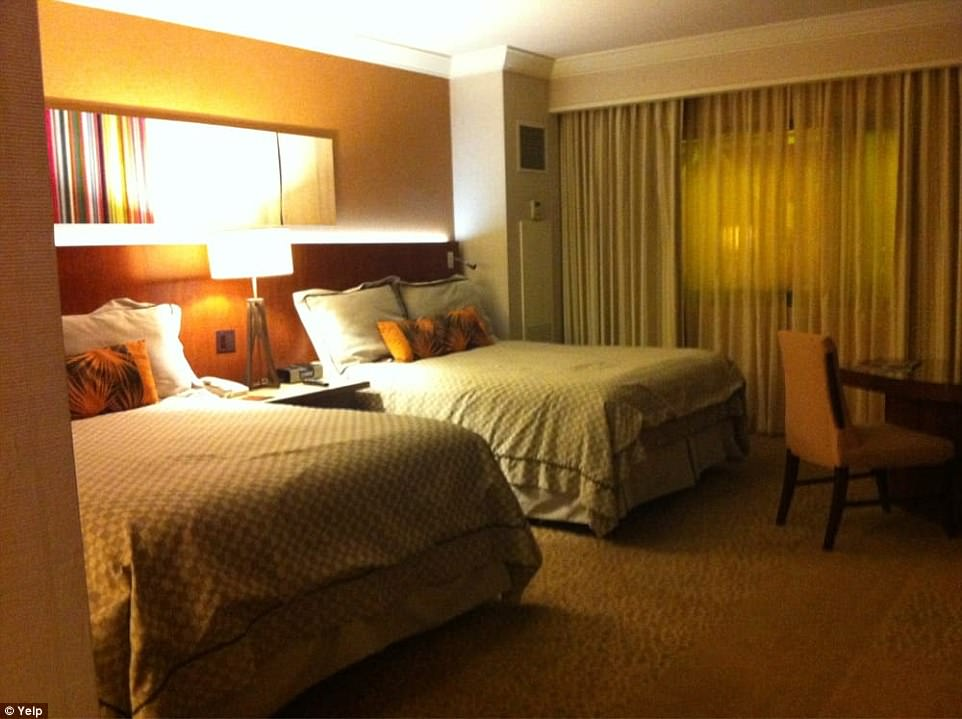 Above, a view of a typical double room in the Mandalay Bay hotel. It's unclear what kind of room Paddock was staying in