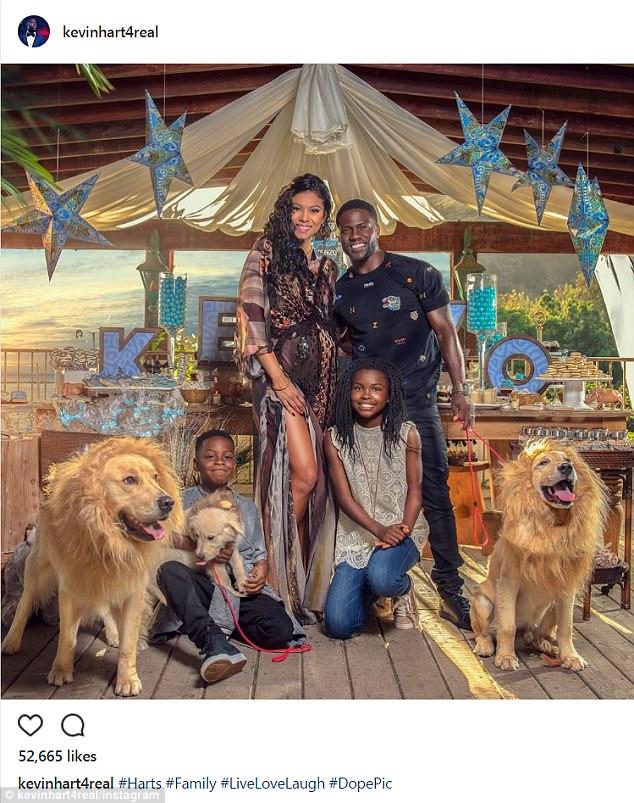 United Front: Kevin Hart et sa femme enceinte, Eniko Parrish, ont organisé une fête de naissance pour leur enfant qui allait bientôt naître lorsque le comédien a visité lundi son Instagram pour partager une photo de famille avec ses deux enfants.