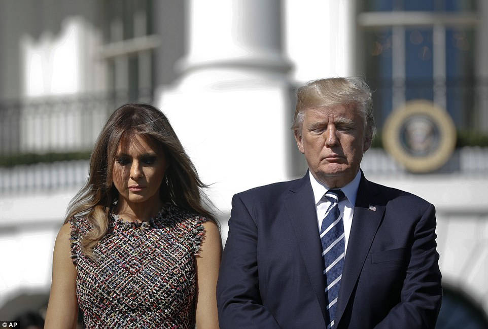 Trump later held a moment of silence on the lawn of the White House