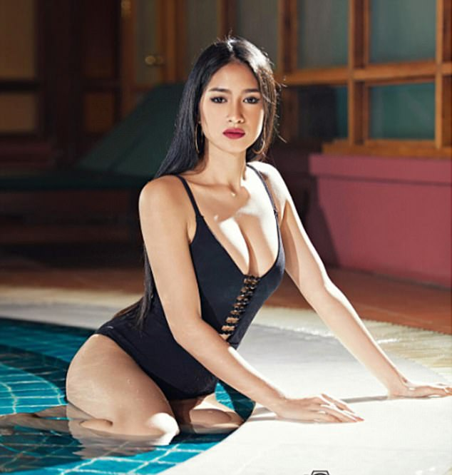Miss Grand MyanmarShwe Eain Si, pictured, claims she has been stripped of her title because of a video she posted on Facebook criticising Rohingya Muslims