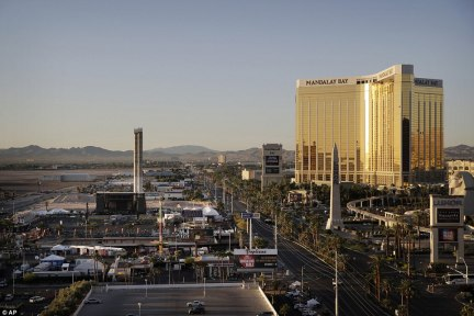 The Mandalay Bay resort and casino pictured above on Tuesday, as investigators continue to investigate the shooting