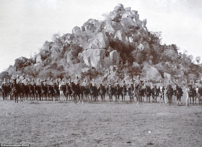 British troops can be seen sitting on their horses in this photograph atBulawayo