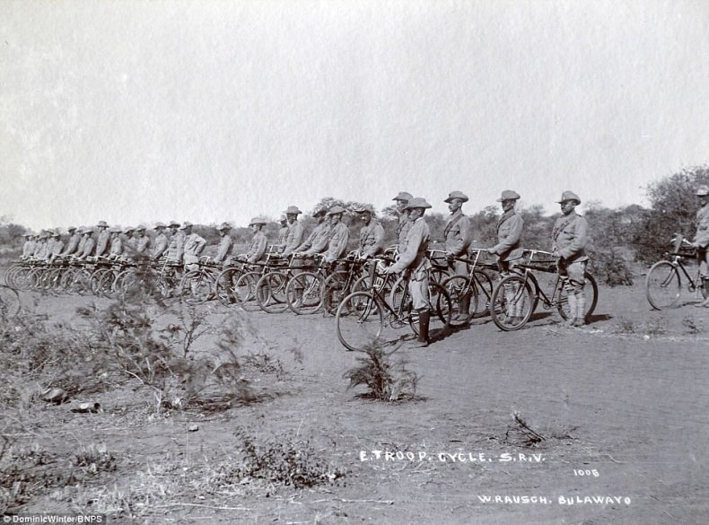 There is also the remarkable sight of troops lined up on bicycles in the town of Bulawayo and an imposing fort in the hills