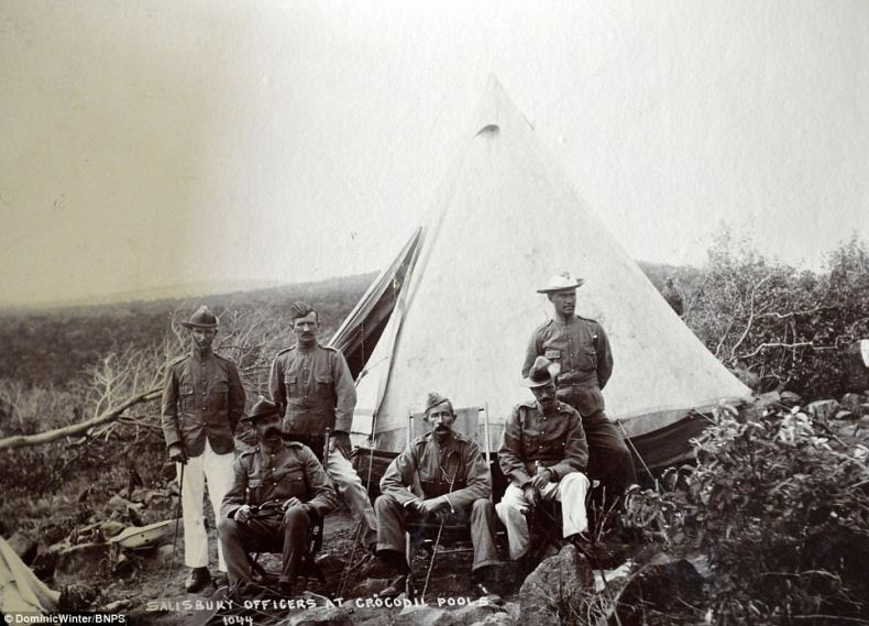 This image shows a group of Salisbury officers posing in front of their tent at Crocodile Pools in Bulawayo