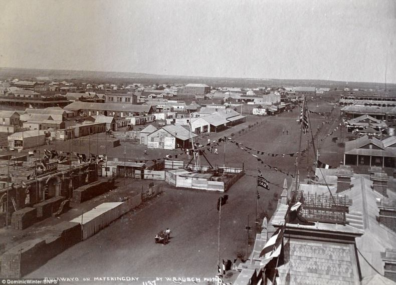 This photo shows the town ofBulawayo inRhodesia with a number homes, shops and military buildings on display